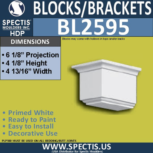"BL2595 Eave Block or Bracket 4.75""W x 4.12""H x 6.2"" P"