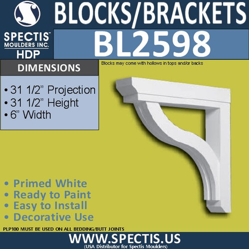 "BL2598 Eave Block or Bracket 6""W x 31.5""H x 31.5"" P"
