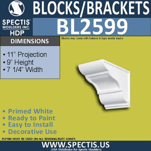 "BL2599 Eave Block or Bracket 7.25""W x 9""H x 11"" P"