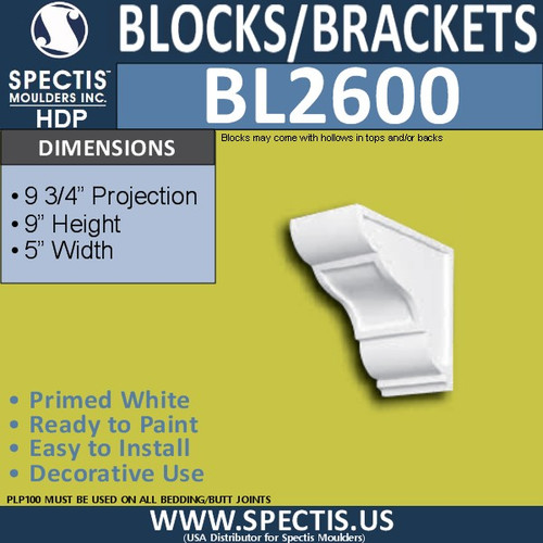 "BL2600 Eave Block or Bracket 5""W x 9""H x 9.75"" P"