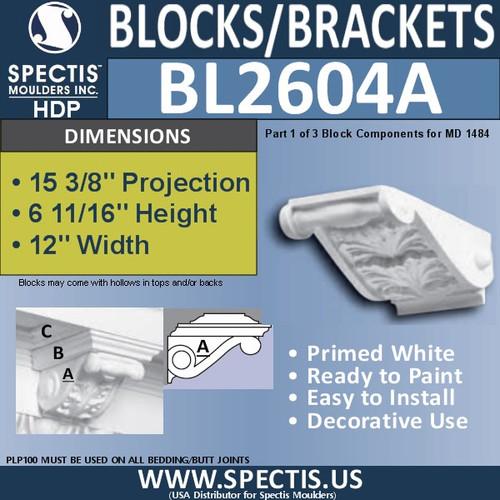 "BL2604A Eave Block or Bracket 8""W x 6""H x 15"" P"