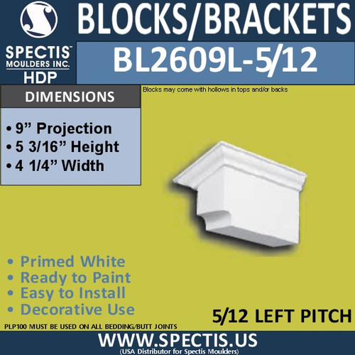 "BL2609L-5/12 Pitch Block or Bracket 4""W x 5""H x 9"" P"