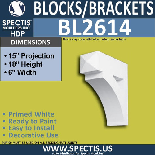 "BL2614 Eave Block or Bracket 6""W x 18""H x 15"" P"
