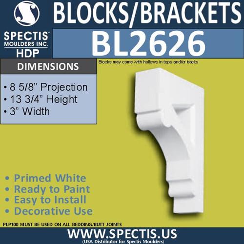 "BL2626 Eave Block or Bracket 3""W x 13.75""H x 8.6"" P"