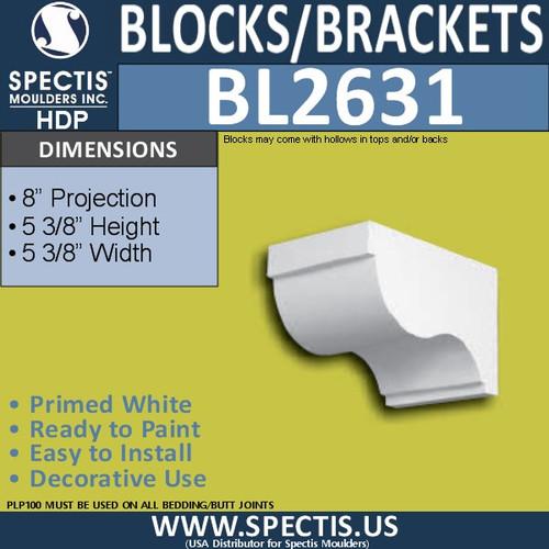 "BL2631 Eave Block or Bracket 5.3""W x 5.3""H x 8"" P"