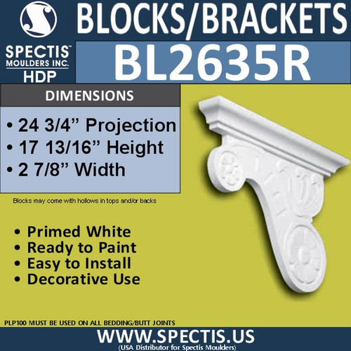 "BL2635R Right Block or Bracket 3.25""W x 17.75""H x 24.75"" P"