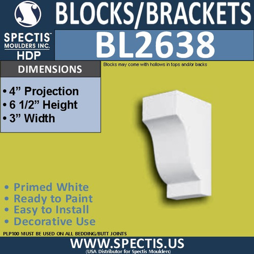 "BL2638 Eave Block or Bracket 3""W x 6.5""H x 4"" P"