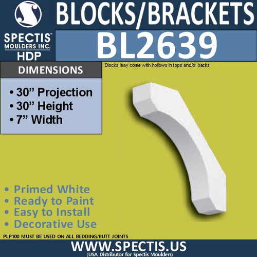 "BL2639 Eave Block or Bracket 7""W x 30""H x 30"" P"