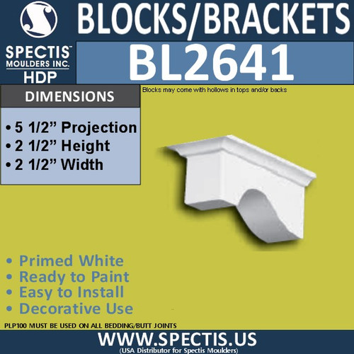 "BL2641 Eave Block or Bracket 2.5""W x 2.5""H x 5.5"" P"