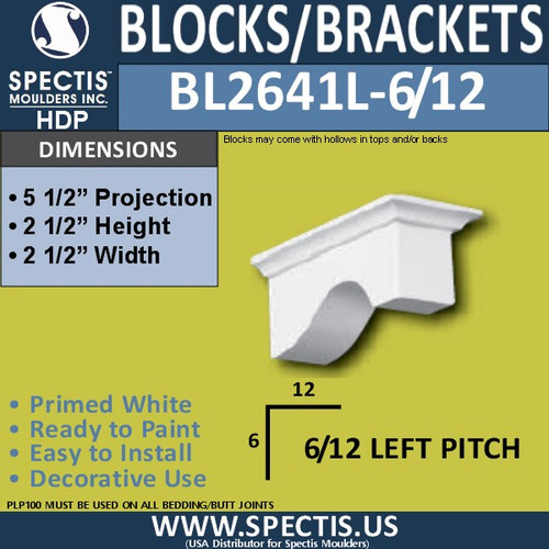 "BL2641L-6/12 Pitch Eave Bracket 2.5""W x 2.5""H x 5.5"" P"