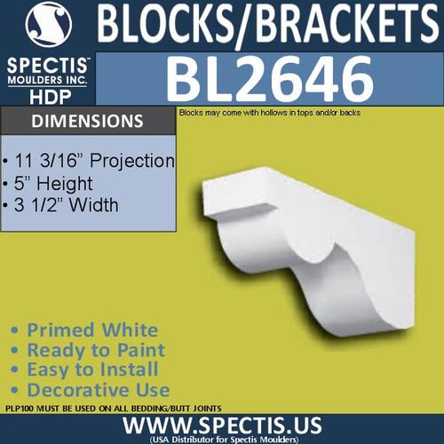 "BL2646 Eave Block or Bracket 3.5""W x 5""H x 11.2"" P"