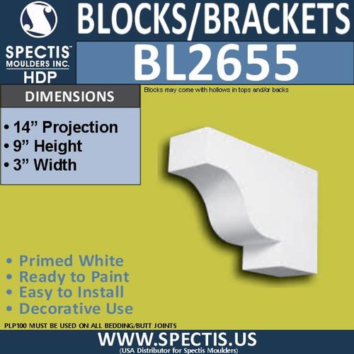 "BL2655 Eave Block or Bracket 3""W x 9""H x 14"" P"