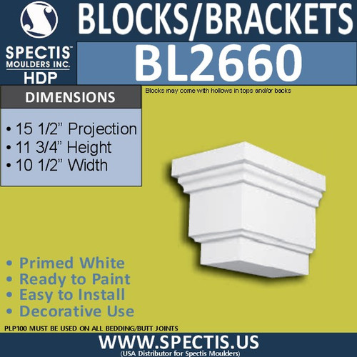 "BL2660 Eave Block or Bracket 10.5""W x 11.75""H x 15.5"" P"