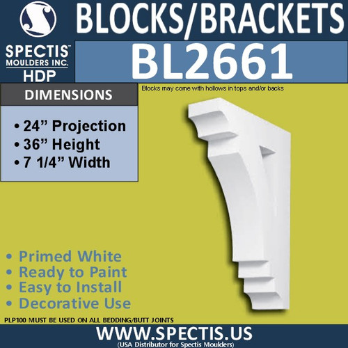 "BL2661 Eave Block or Bracket 36""W x 36""H x 24"" P"