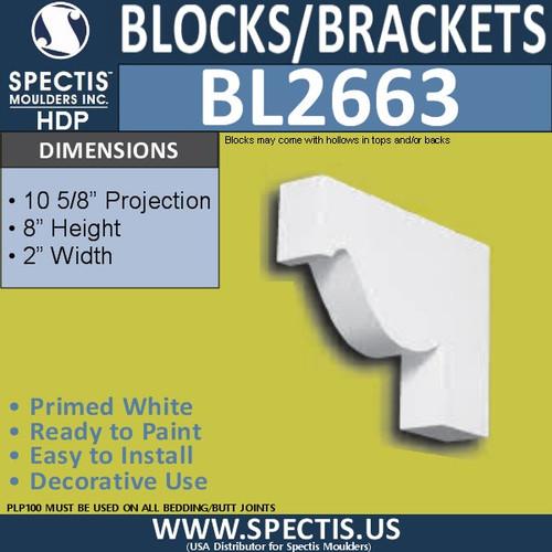 "BL2663 Eave Block or Bracket 2""W x 8""H x 10.6"" P"
