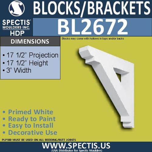 "BL2672 Eave Block or Bracket 3""W x 17.5""H x 17.5"" P"