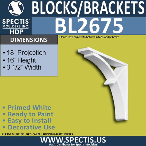 "BL2675 Eave Block or Bracket 3.5""W x 16""H x 18"" P"