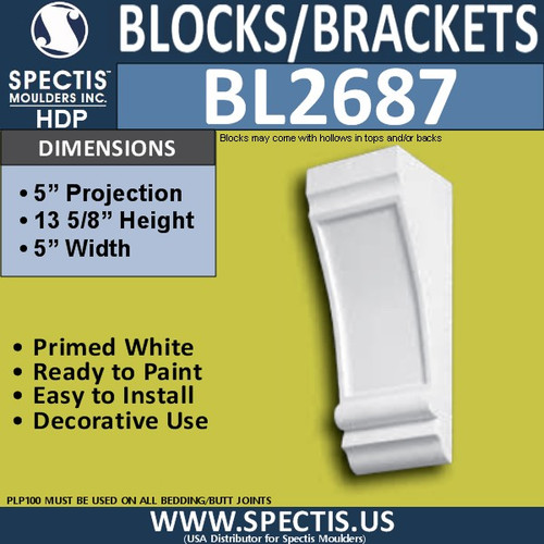 "BL2687 Eave Block or Bracket 5""W x 5""H x 13.6"" P"