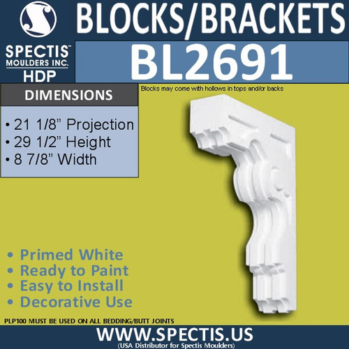 "BL2691 Eave Block or Bracket 8.75""W x 29.5""H x 21.1"" P"