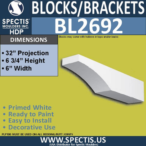 "BL2692 Eave Block or Bracket 6""W x 6.75""H x 32"" P"