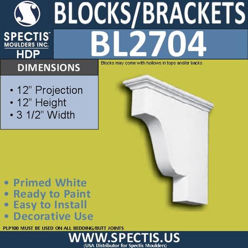 "BL2704 Eave Block or Bracket 6""W x 4""H x 4"" P"