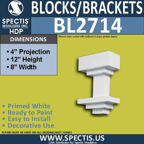 "BL2714 Eave Block or Bracket 8""W x 12""H x 4"" P"