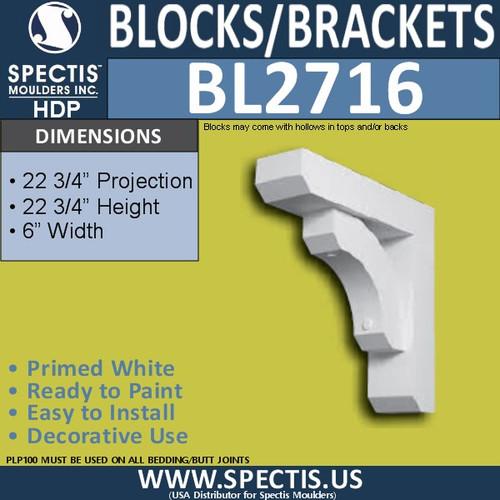 "BL2716 Eave Block or Bracket 6""W x 22.75""H x 22.75"" P"