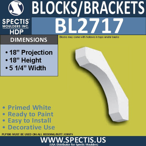 "BL2717 Eave Block or Bracket 5.25""W x 18""H x 18"" P"