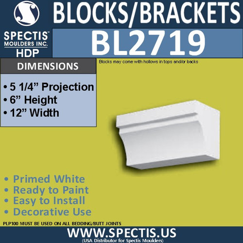 "BL2719 Eave Block or Bracket 12""W x 6""H x 5.25"" P"