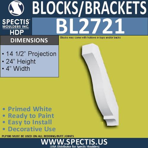 "BL2721 Eave Block or Bracket 4""W x 24""H x 14.5"" P"
