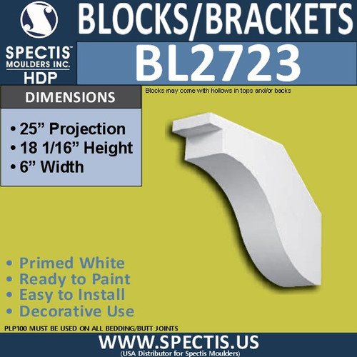 "BL2723 Eave Block or Bracket 6""W x 18""H x 25"" P"