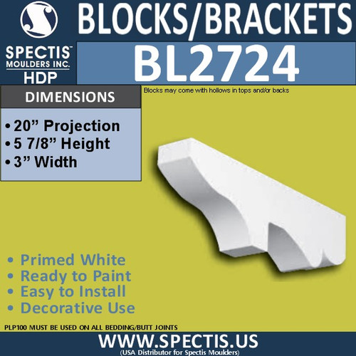 "BL2724 Eave Block or Bracket 3""W x 6""H x 20"" P"
