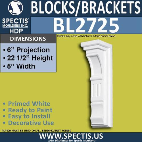 "BL2725 Eave Block or Bracket 5""W x 22.5""H x 6"" P"