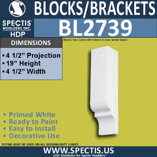 "BL2739 Eave Block or Bracket 4.5""W x 19""H x 4.5"" P"