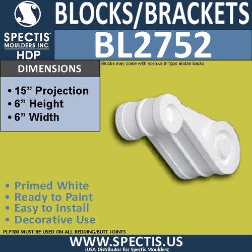 "BL2752 Eave Block or Bracket 6""W x 6""H x 15"" P"