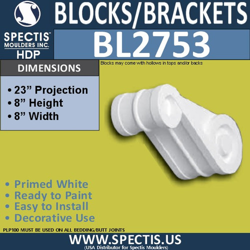 "BL2753 Eave Block or Bracket 8""W x 8""H x 23"" P"