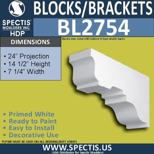"BL2754 Eave Block or Bracket 7.25""W x 14.5""H x 24"" P"