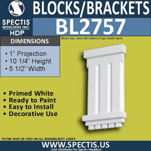 "BL2757 Eave Block or Bracket 5.5""W x 10.25""H x 1"" P"
