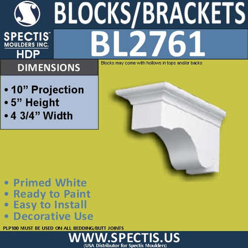 "BL2761 Eave Block or Bracket 4.75""W x 5""H x 10"" P"