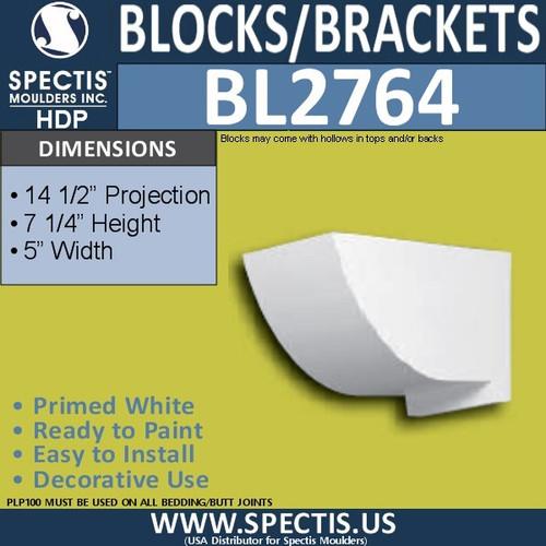 "BL2764 Eave Block or Bracket 5""W x 7.25""H x 14.5"" P"