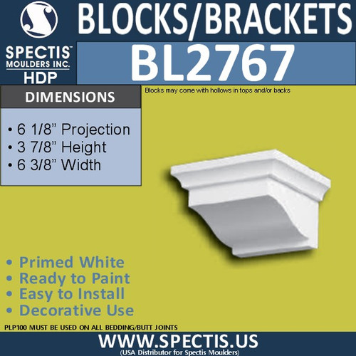 "BL2767 Eave Block or Bracket 6.3""W x 3.9""H x 6.1"" P"