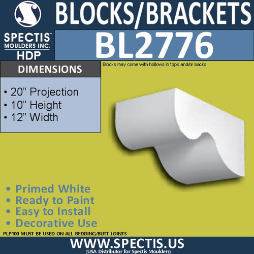 "BL2776 Eave Block or Bracket 12""W x 12""H x 54"" P"