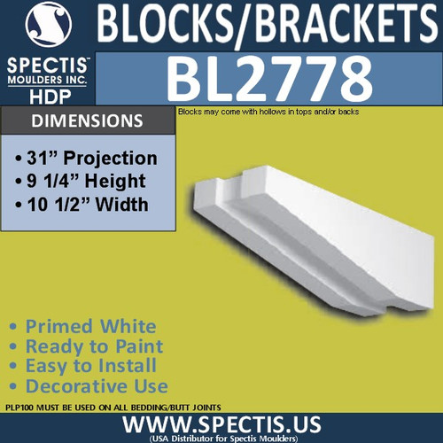 "BL2778 Eave Block or Bracket 10.5""W x 9.25""H x 31"" P"