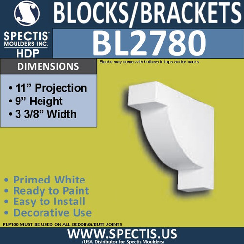 "BL2780 Eave Block or Bracket 3.3""W x 9""H x 11"" P"
