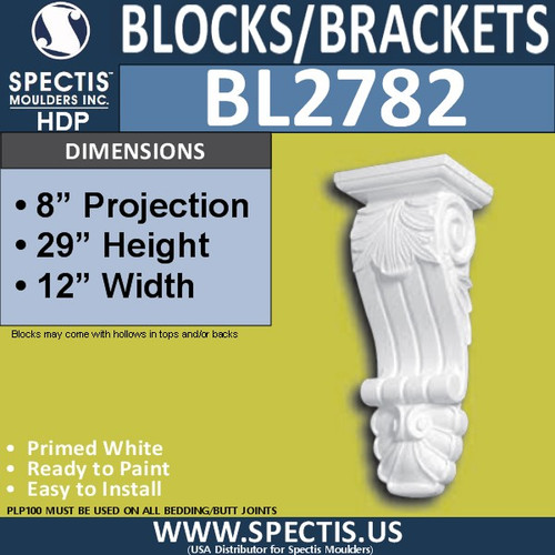 "BL2782 Eave Block or Bracket 12""W x 29""H x 8"" P"