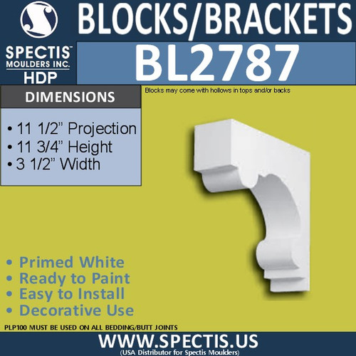"BL2787 Eave Block or Bracket 3.5""W x 11.75""H x 11.5"" P"