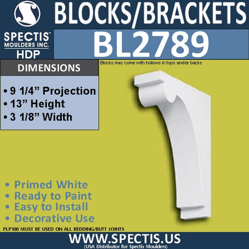 "BL2789 Eave Block or Bracket 3.1""W x 9.25""H x 13"" P"