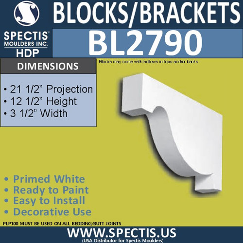 "BL2790 Eave Block or Bracket 3.5""W x 12.5""H x 21.5"" P"