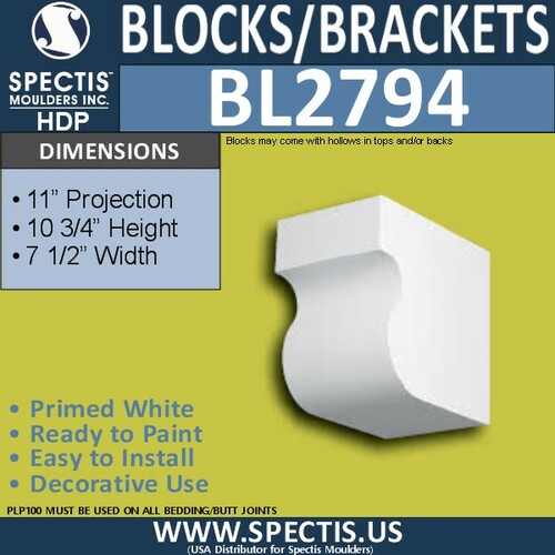 "BL2794 Eave Block or Bracket 7.5""W x 10.75""H x 11"" P"