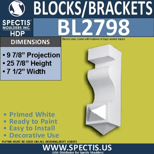 "BL2798 Eave Block or Bracket 7.5""W x 25.8""H x 7.1"" P"